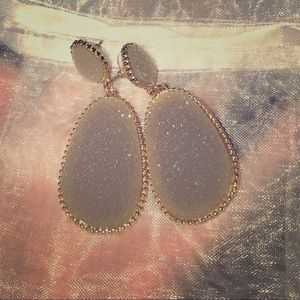Grey sparkle and gold earrings